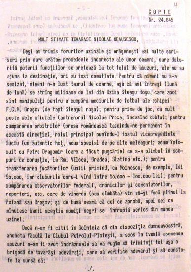 Dosarul de coruptie de la FCM Brasov 1981