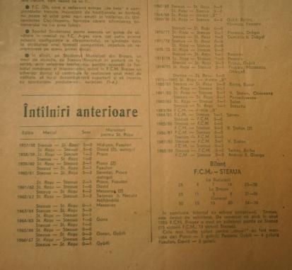 Palmares Steagul Roşu - Steaua, 1957 - 1989