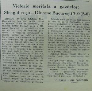 Victorie cu Dinamo.Ceva obişnuit pentru stegarii anilor 60
