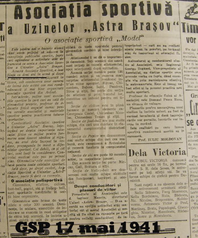 Anul infiintarii FC Brasov