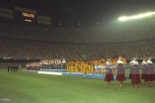8 august 1992, Barcelona, ceremonia de premiere a turneului olimpic de fotbal. Spania pe locul 1, Polonia pe 2, iar pe locul 3 Ghana. Dossey este pe undeva pe acolo, nu am reuşit să-l identific. A fost ultima medalie obţinută de Ghana la Jocurile Olimpice. sursa foto: Getty Images