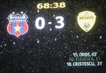 Tabela meciului Steaua Bucureşti - FC Braşov din 6 martie 2011