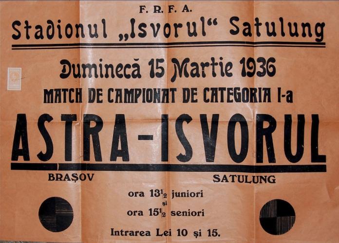 Afişul meciului Isvorul Satulung vs. Astra Braşov, 1936