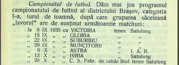 Program Campionatul Districtual Braşov, tur 1935-1936