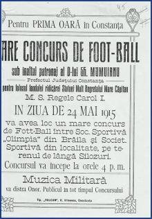 Afiş de meci în 1915