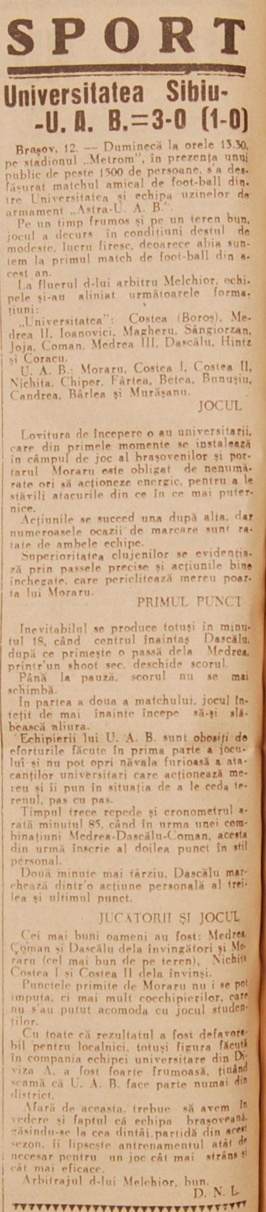 UAB - U Cluj, 9 martie 1941