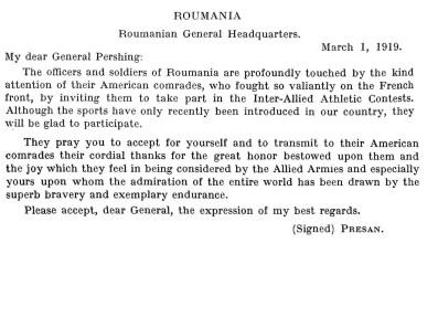 Scrisoarea de răspuns a generalului Constantin Prezan