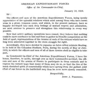 Scrisoarea lui John J. Pershing