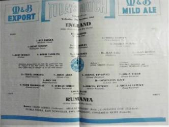 Anglia - România, 25 noiembrie 1964