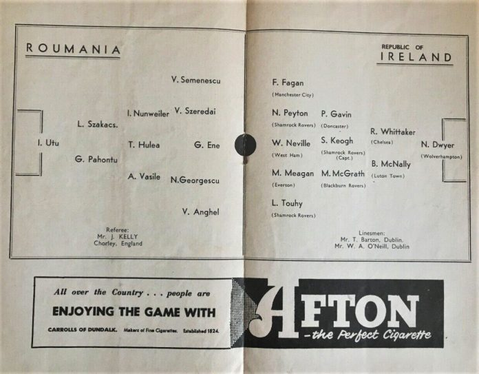 Irlanda - România, 25 octombrie 1957